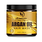 Argan Oil Hair Mask Deep Conditioner - 8 oz Leave In Conditioner Sulfate Free - Damaged & Dry Hair Repair & Growth All Natural - Hydrates Softens Strengthens Premium Nature (Color: white, Tamaño: medium)