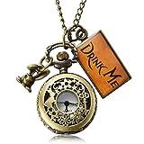 Uarter Vintage Drink Me Pocket Watch Necklace Quartz Watch Alice in Wonderland (Color: Rabbit, Tamaño: Rabbit)