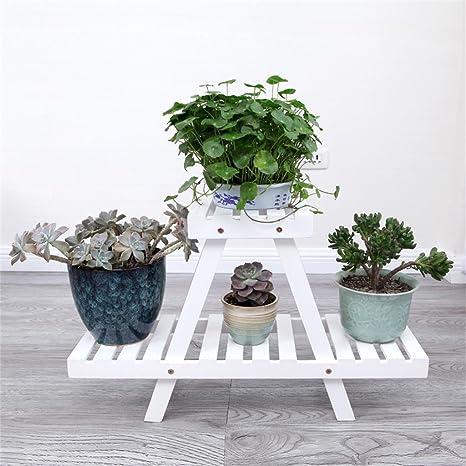 Weiße Blumen-Racks Pflanze Florets Einfache einfache Woody Garten-Blumen-Standplatz Balkon-Fußboden-Art-Blumen-Standplatz