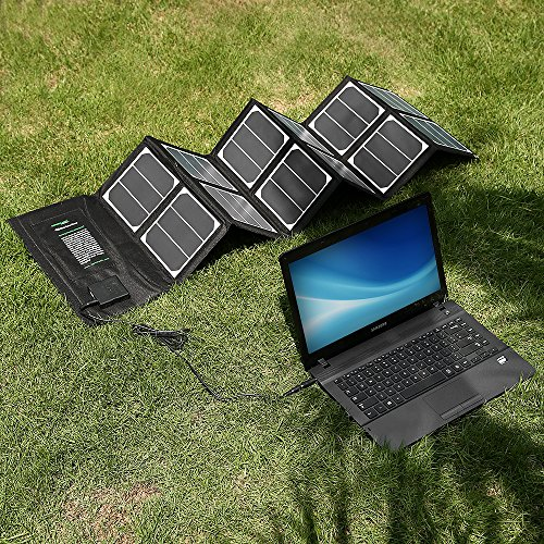 [New Release] Poweradd™ High Efficient 40W Foldable Solar Panel Portable Solar Charger (USB Port + 18V DC Output) for iPhones, iPads, Samsung Galaxy Phones, Acer, Asus, Dell, HP, Toshiba, Lenovo Notebooks, Laptops and Many Other Devices