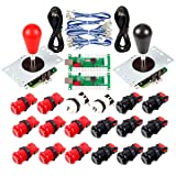 Avisiri 2 Player Arcade Joystick DIY Parts 2X USB Encoder + 2X Elliptical Joystick Hanlde + 18x American Style Arcade Buttons for PC, MAME, Raspberry Pi, Windows (Red & Black) (Color: Red & Black)