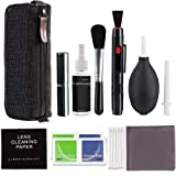 Professional Cleaning Kit for DSLR Cameras with Lens Cleaning Pen/Clean Brush/Air Blowing/Cleaning Agent Spray Bottle/Cleaning Paper/Beauty Brush/Dry Wet Paper/Cotton Swab/Bag (Multicolor) (Color: Multicolor)
