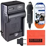 DMW-BCJ13 Battery Charger for Panasonic Lumix DMC-LX5 DMC-LX7 Digital Camera + LCD Screen Protectors + Cleaning Cloth