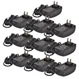 TMEZON 10 Pack 12 Volt 2 Amp Power Adapter AC to DC 2.1mm X 5.5mm Plug 12v 2a Power Supply Wall Plug Extra Long 8 Foot Cord (Tamaño: 8ft Cord 2Amp -10 packs)
