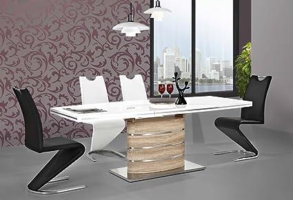 """'Tavolo da pranzo """"Fano II Colonna tavolo lucido Sonoma/bianco"""
