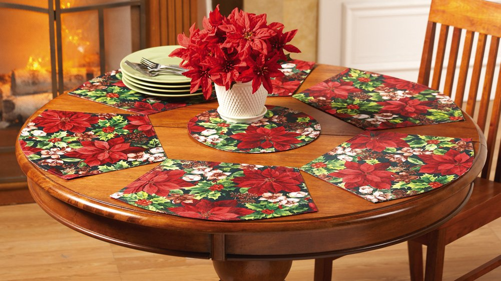 7 Piece Poinsettia Placemat Table Linen Set