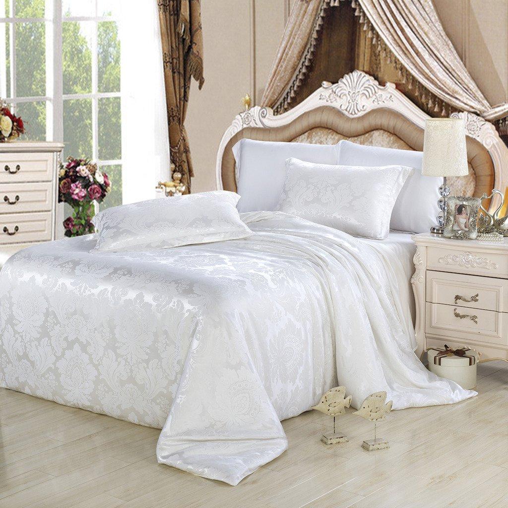 Orifashion Limited Edition 7-Piece 100% Silk White Retro Floral Jacquard Bedding Set, California King Size