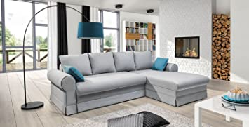 Ecksofa BELLE mit Schlaffunktion Sofa Couch Schlafsofa Polsterecke Bettfunktion (Ottomane rechts)