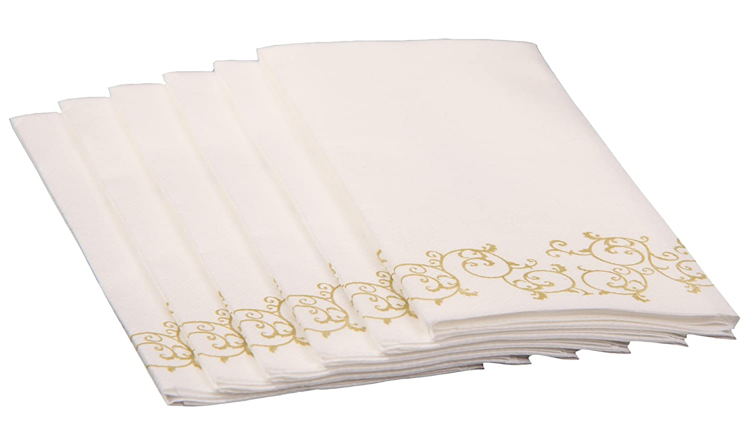 SimuLinen Hand Towels - Like Linen, Great for Guest and Bathroom Use, Decorative GOLD FLORAL Disposable 100ct