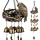 BlessedLand Bird Wind Chime-4 Hollow Aluminum Tubes 5 Wind Bells 7 Birds-Wind Chime with S Hook for Indoor and Outdoor
