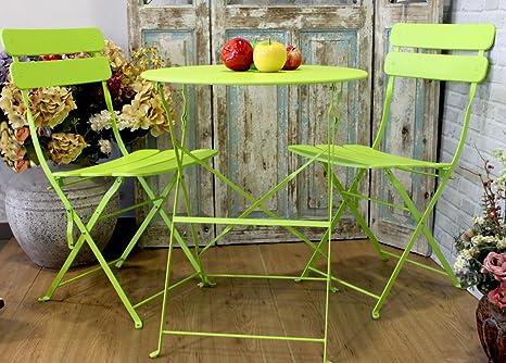 Tisch und Stuhle Gartenmöbel Eisen Farbe Grun fluò