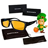 Swanwick Sleep Fitover Blue Light Blocking Glasses and Computer Eyewear - Wear OVER your Prescription Glasses or Readers (Color: Black, Tamaño: 53mm - 17mm - 140mm)
