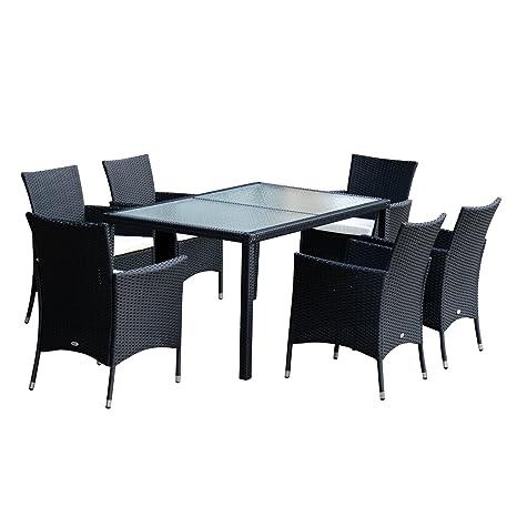 Outsunny Ensemble Salon de Jardin 1 Table & 6 Chaises Rotin Tressé Coussin Hydrofuge Plateau Verre Trempé Noir