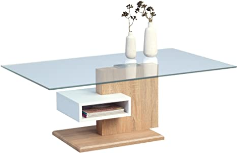 HomeTrends4You 143942 Couchtisch, Glas, dekor sonoma eiche / weiß matt, 110 x 66 x 40 cm