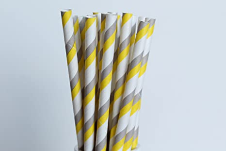 Yellow Striped Paper Straws Striped Paper Straw Set of