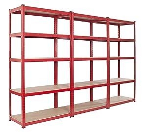 3 Bay Warehouse Racking 5 Tier Garage Shelving DEEP unit Steel TS18/90/55       review
