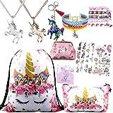 RLGPBON Unicorn Gifts for Girls 10 Pack Drawstring Backpack/Makeup Bag/Unicorn Pendant Necklace/Bracelet/Hair Ties (Color: TYPE 1, Tamaño: xl)