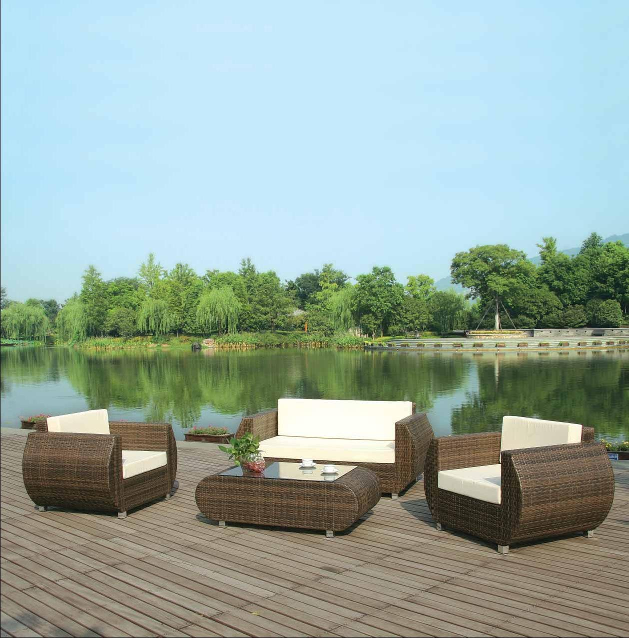 rattan gartenm bel lounge sitzgruppe ibiza 4 teilig hellbraun alurahmen hochwertig. Black Bedroom Furniture Sets. Home Design Ideas