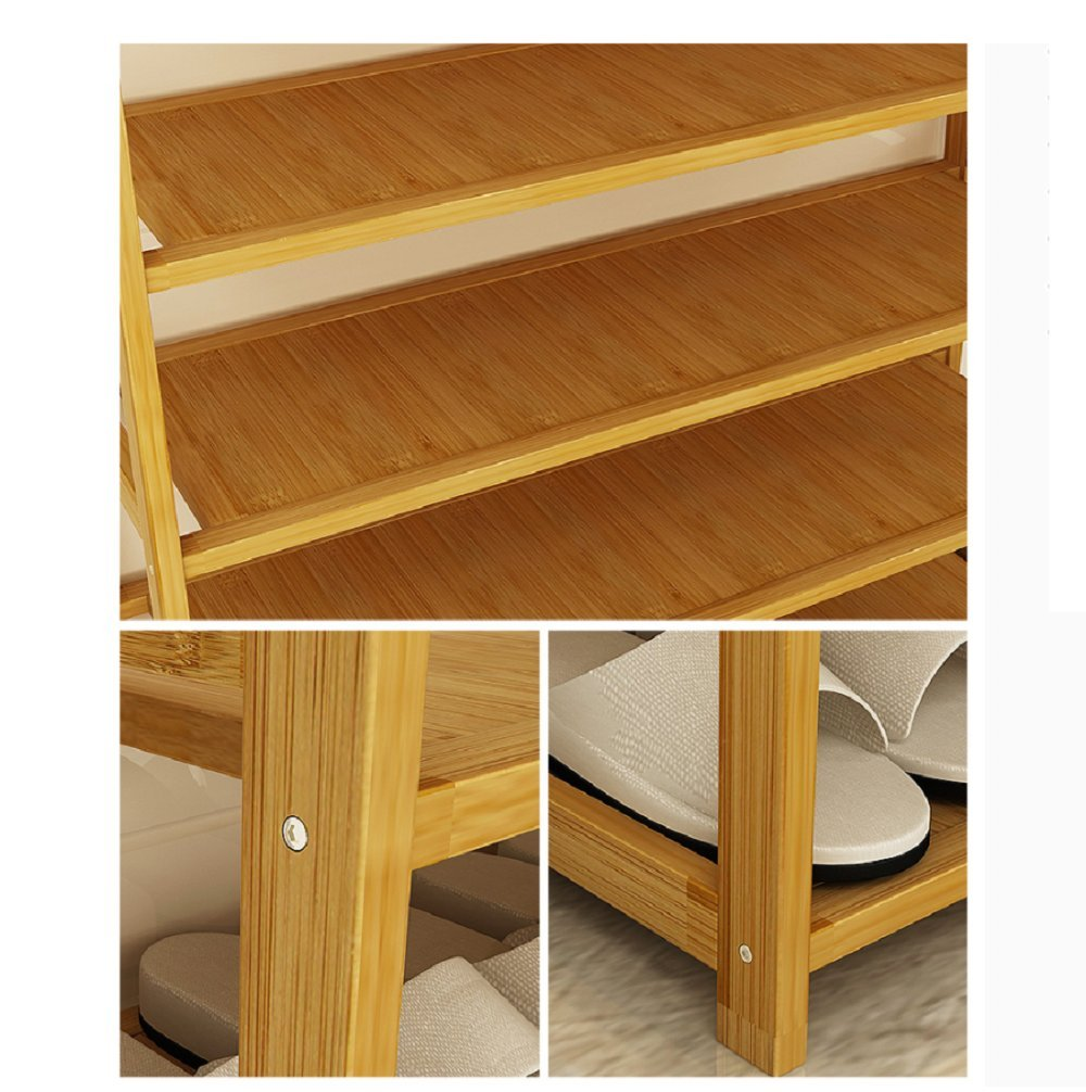 DULPLAY Bamboo shoe rack,100% solid wood,Function assemble,Entryway shelf Stand shelves Stackable Entryway bedroom 3-10 tier 6-40 shoes -B 79x25x155cm(31x10x61inch)