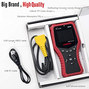 LAUNCH OBD2 Code Reader CR3008 for Full Obd2 Mode Scanner Print Diagnostic Report Check Engine Live Data I/M Readiness Smog Misfire Battery-Free Update (Color: Wine Red)