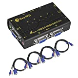Sea Wit VGA Switch, 4 Port USB KVM Switch with USB 2.0 Hub Support Audio and Microphone output for Windows, Linux, MAC (Color: 4 Port VGA KVM Switch)