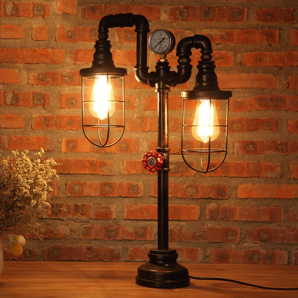 Vintage Table Lamp Lighting Mklot Ecopower Plug In Retro Industrial Iron Pipe Table Lamp 15 35