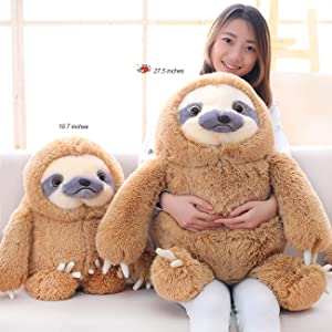 Winsterch Giant Sloth Stuffed Animal Toy, Large Plush Sloth Gifts Baby Dolls Kids Birthday Gifts,Big Sloth Toy,27.5 inches (Color: Brown, Tamaño: 27.5 inches)