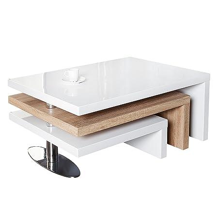 Funktioneller Design Couchtisch HIGHCLASS hochglanz Lack weiss Sonoma Eiche Tisch