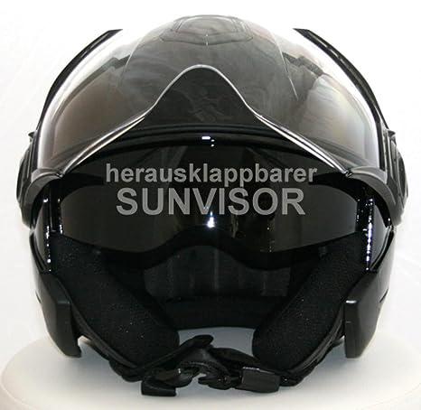 Casques de moto Casque jet DD-22 avec pare-soleil Noir S ABS, Polycarbon