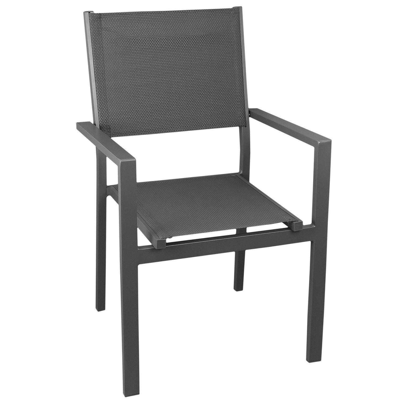 Aluminium Stapelstuhl mit hochwertiger 4x4 Textilenbespannung, stapelbar, grau/grau - Gartenstuhl Gartensessel Bistrostuhl Stapelsessel Balkonmöbel Gartenmöbel Terrassenmöbel Sitzmöbel