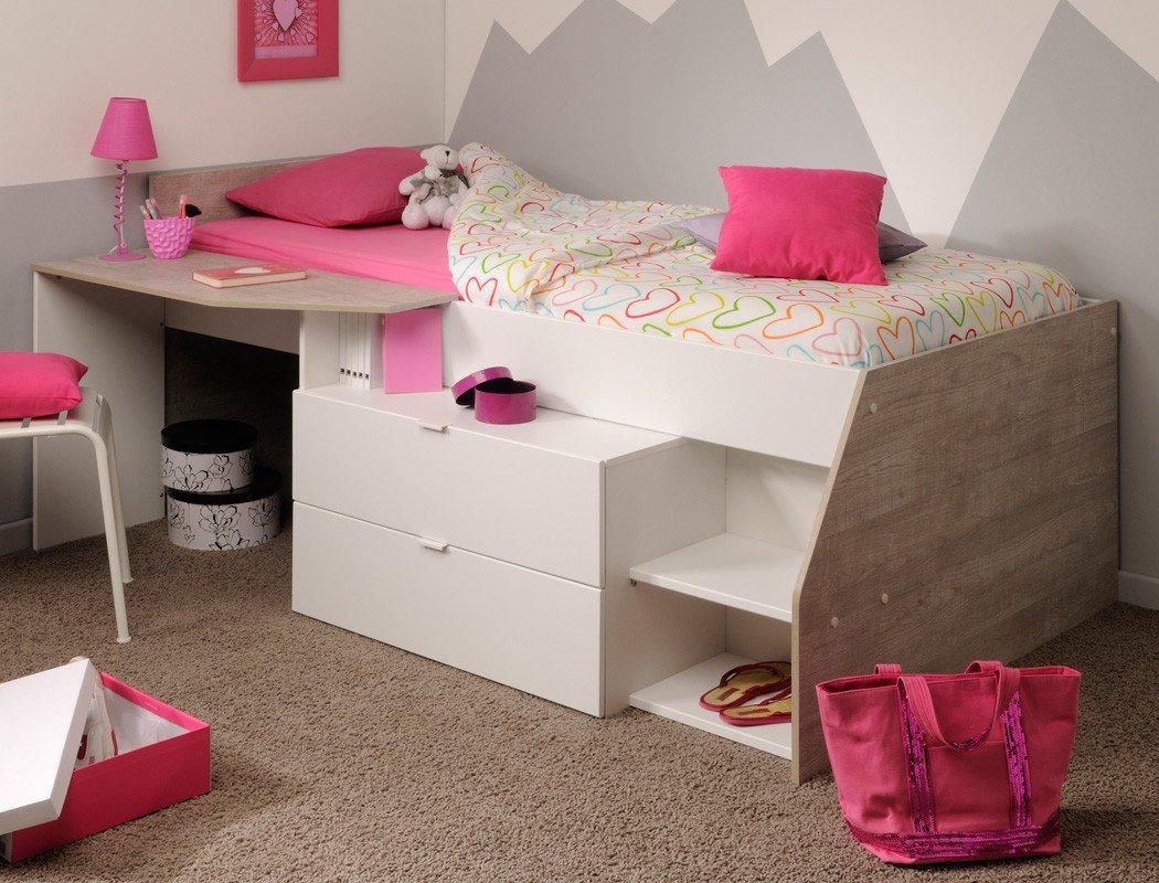 Hochbett Mika B 90x200cm weiß grau Kinderbett Kommode Schreibtisch Jugendzimmer Kinderzimmer günstig online kaufen