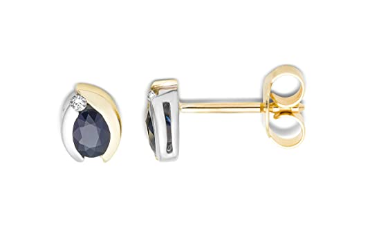 Miore 18ct Two Colour Gold Genuine Sapphire and Diamond Stud Earrrings MH8005E