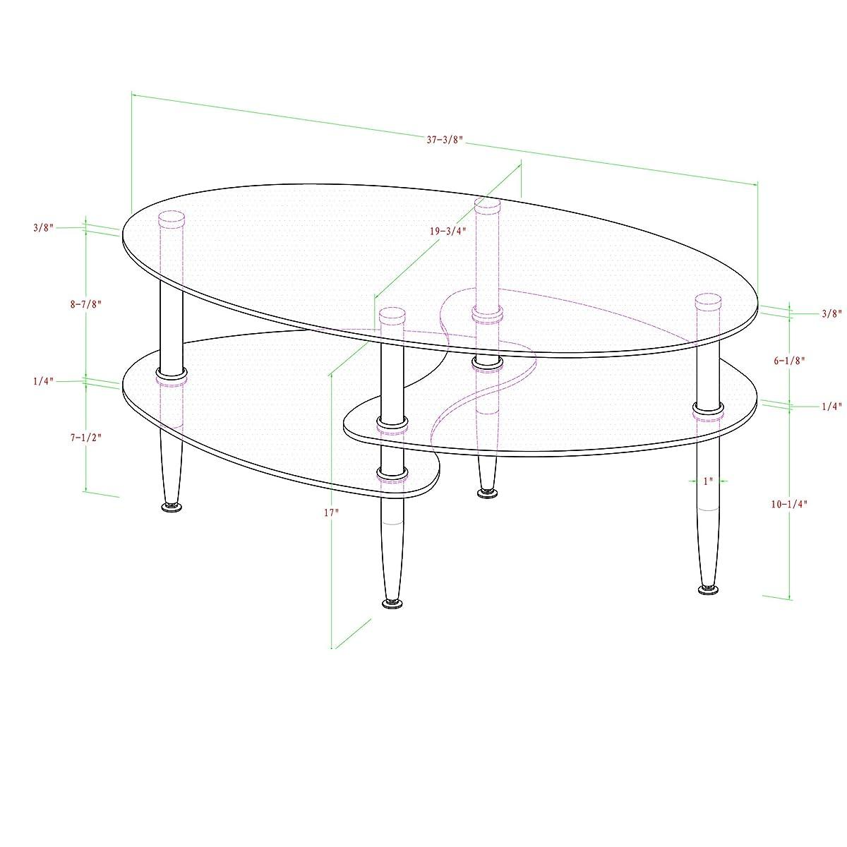 Walker Edison Glass Oval Coffee Table