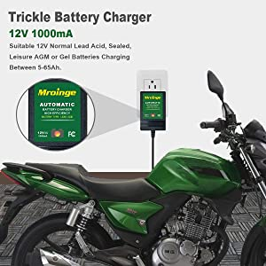 Mroinge Automotive Trickle Battery Charger Maintainer 12V 1A Smart Automatic Battery Chargers for Car Motorcycle Boat Lawn Mower SLA ATV Wet Agm Gel Cell Lead Acid Batteries (Tamaño: 1A 12V)