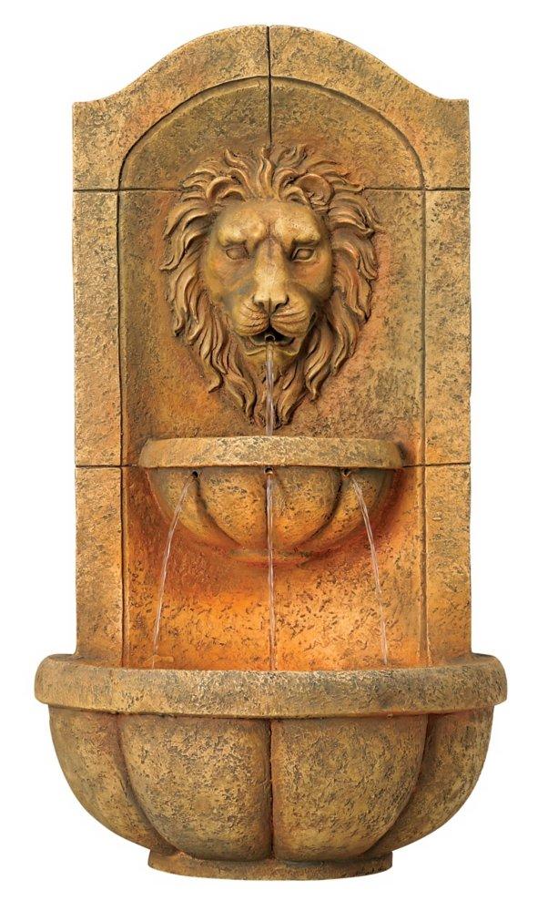"""Lion Head Faux Stone 29 1/2"""" High Wall Fountain"""