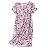 Amoy-Baby Women's Nightgown Cotton Sleep Tee Short Sleeves Nightshirt Casual Print Sleepwear White Cat 2XL (Color: White Cat, Tamaño: XX-Large)