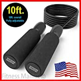 FITNESS MANIAC TFM USA Jump Rope Adjustable Speed Rope Black 10ft for Cardio Training Boxing MMA Fitness Sport Gym Men Women Girls Boys Kids continental U.S. (Color: black, Tamaño: 10ft.)