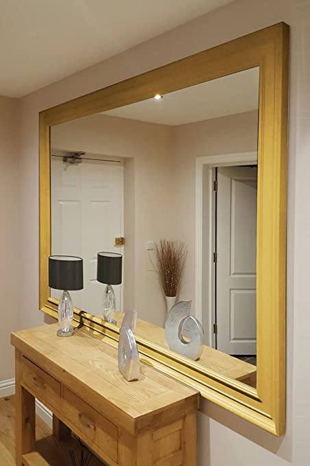 Extra Large Gold Coloured Modern Big Leaner Wall Mirror New