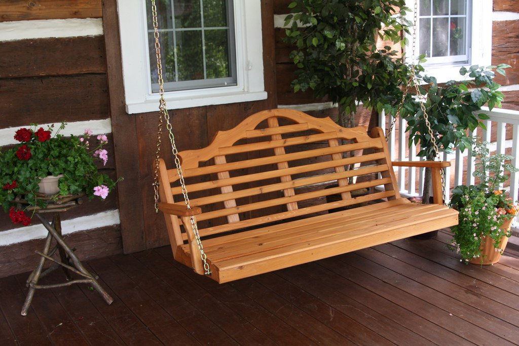 Outdoor 5 Foot Marlboro Porch Swing - STAINED- Amish Made USA -Mushroom amish roots