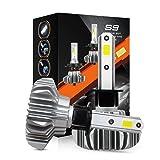 H1 Led Headlight,AutoTime 8000 Lumens Extremely Bright COB Chips Led Headlight Bulbs Conversion Kit,60W 6500K Single Beam Fanless Headlight Kit (Tamaño: H1)