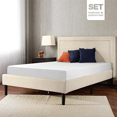 Sleep Master Memory Foam 8 Inch Mattress and Upholstered Detailed Platform Bed Set, Full
