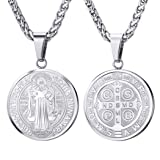 U7 Stainless Steel Saint Benedict Medal Pendant Necklace Amulet Lucky Jewelry (Color: Round Shape Stgainless Color, Tamaño: medium)
