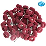 FPPO 50PCS Abrasive Buffing Polishing Wheel Set For Dremel Rotary Tools,Removal of Rust Deburring on Metal Surface with 3mm Shank,Mini scouring pad Brush Polishing kit(grit 320 red 50pcs) (Color: grit 320 red 50pcs)