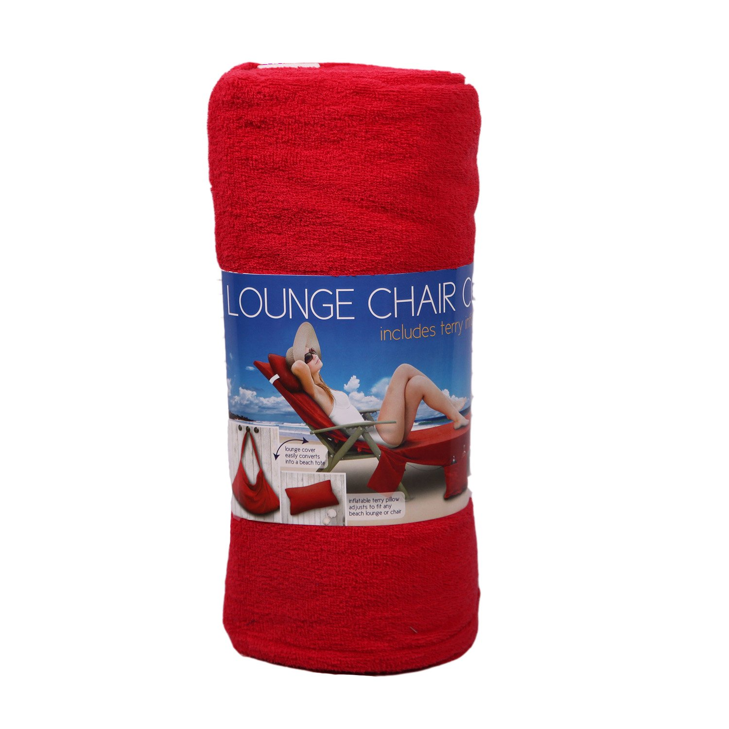 Red Lounge Chair Cover Tote 100% Cotton Terry with Inflatable Pillow & Po