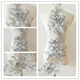 3D Beaded Flower Sequence lace Applique Motif Sewing Bridal Wedding 3in1 20cmx72cm (Silver) (Color: Silver)
