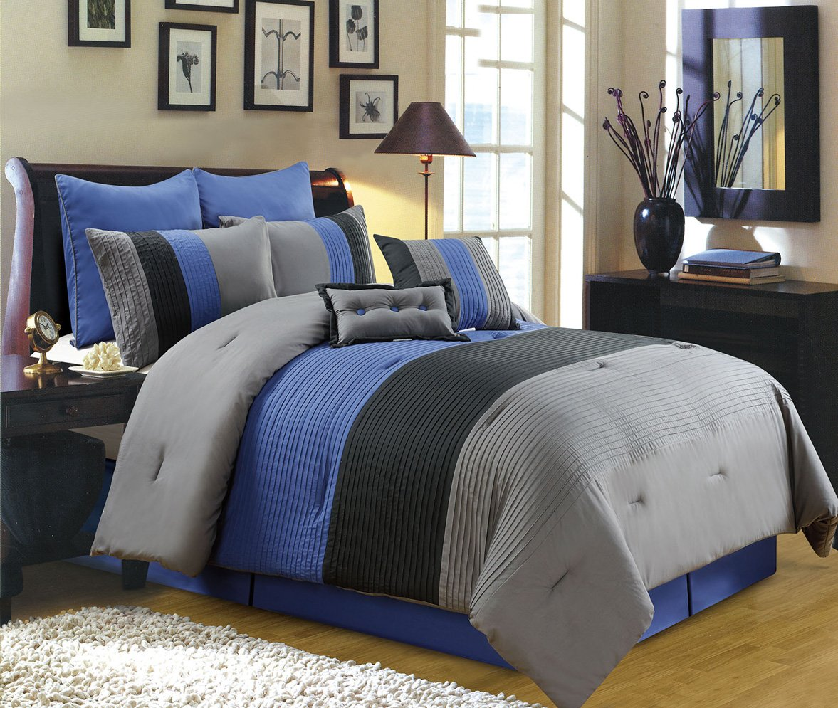 Black and blue bed sheets - 8 Piece Luxury Bedding Regatta Comforter Set Navy Blue Grey Black King Size Bedding