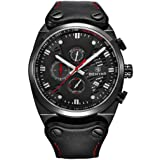 BENYAR Chronograph Waterproof Wrist Watches Business Sport Military Black Leather Band Strap (Black Red)