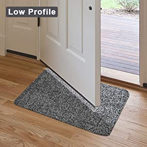 Indoor Doormat Super Absorbs Mud 18x28 Latex Backing Non Slip Door Mat for Small Front Door Inside Floor Dirt Trapper Mats Cotton Entrance Rug Shoes Scraper Machine Washable Carpet Black White Fiber (Color: Black and White Fibers, Tamaño: 18x28)
