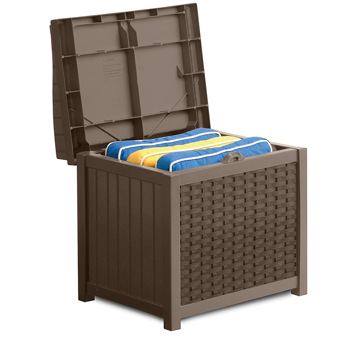 Suncast SSW1200 Mocha Resin Wicker 22-Gallon Storage Seat