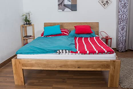 Double Bed Wooden Nature 87, solid wild oak, oiled - 180 x 200 cm